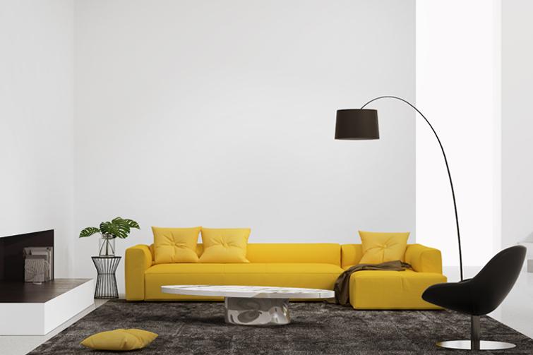 Møblert stue. Foto