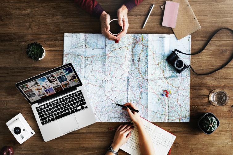 reise, kart, planlegging
